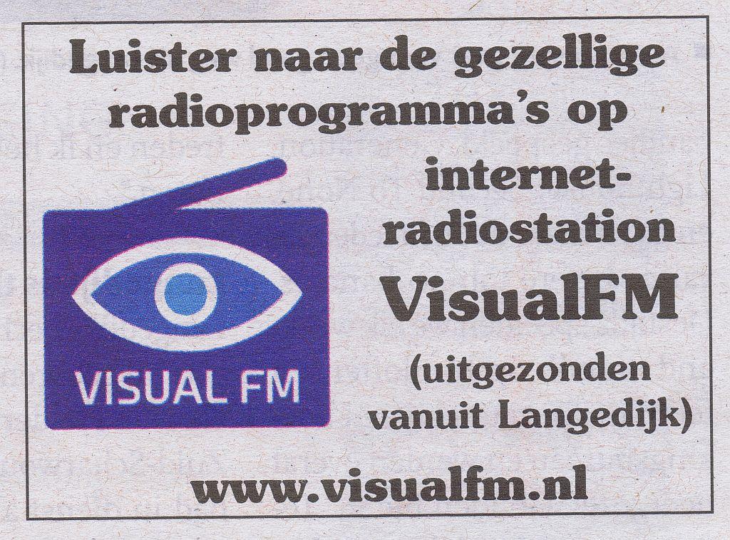 Visual FM - Serious Internet Radio Advertientie die bijna elke week in het Langedijker Nieuwsblad staat